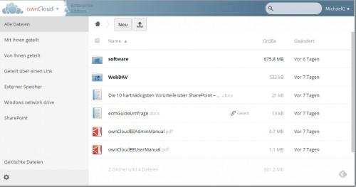 Die ownCloud Weboberfläche (hier in Google Chrome)