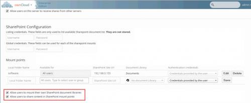 """Abbildung 5 Konfiguration eines MountPoints """"Software"""" zu einer SharePoint Dokumentbibliothek"""