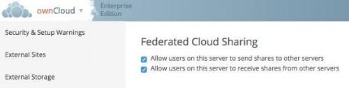 Abbildung 11 Aktivierung der Federated Cloud in der Administration
