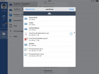 Abb. 4 Direkter Zugriff auf ein Word Dokument auf ownCloud aus der WORD iPad App