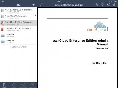 Abbildung 7 ownCloud App auf dem iPad