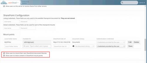 """Abbildung 12 Konfiguration eines MountPoints """"Software"""" zu einer SharePoint Dokumentbibliothek"""