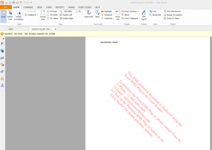 Abbildung 10: Geschütztes PDF-Dokument geöffnet mit dem kostenlosen Foxit Reader mit RMS Plug-In