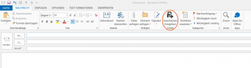 Abbildung 7: Geschütztes Freigeben von E-Mail-Anhängen in Outlook