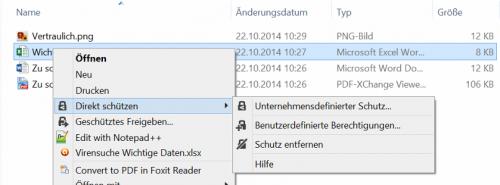 Abbildung 1: Dateischutz-Optionen im Dateiexplorer mit der RMS-Freigabeanwendung