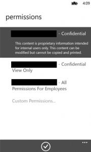 Abbildung 12: Zugriffsberechtigungen in der RMS-Freigabeanwendung für mobile Geräte