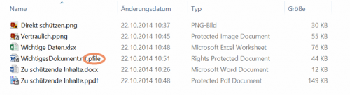 Abbildung 5: Änderung der Endung von anderen Dateitypen nach dem Schützen mittels RMS-Freigabenanwendung