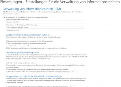 Abbildung 3: Einstellungen der Informationsrechteverwaltung für eine SharePoint-Bibliothek