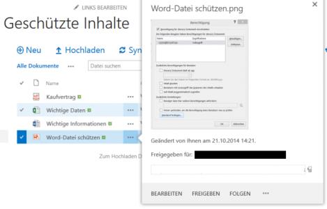 Abbildung 4: Vorschau einer Bild-Datei in einer IRM-geschützten SharePoint-Bibliothek