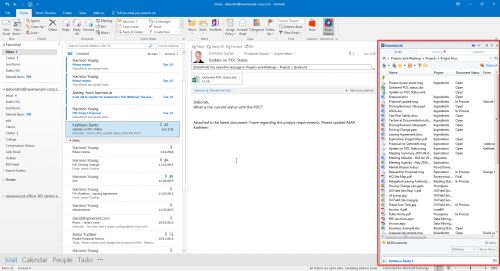 harmon.ie side bar add-on in Outlook