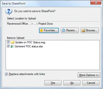 Fig. 2 Dialog for saving e-mails and attachments in SharePoint