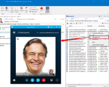 Fig. 7 Starting SkypeForBusiness call directly from harmon.ie