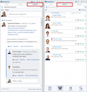 "Fig. 8 The ""Peoples"" and ""Yammer"" tabs in the sidebar"