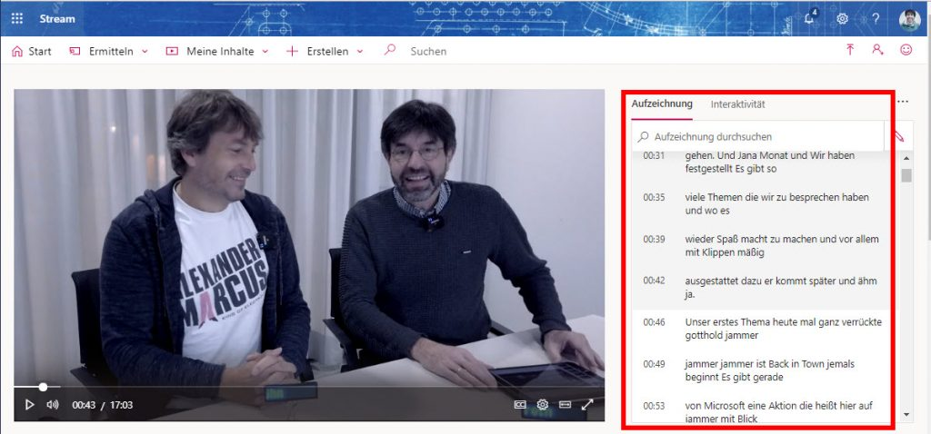 Neue Funktionen in Microsoft Stream | Deutsche Transkription